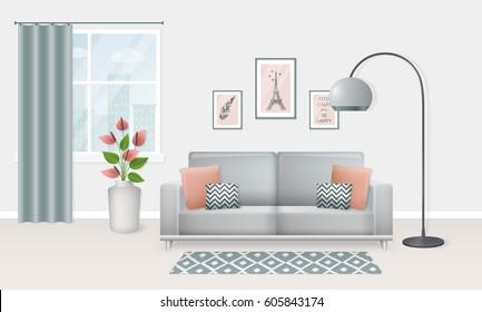 Super Living Room Pink Grey Stock Vectors Images Vector Art Creativecarmelina Interior Chair Design Creativecarmelinacom