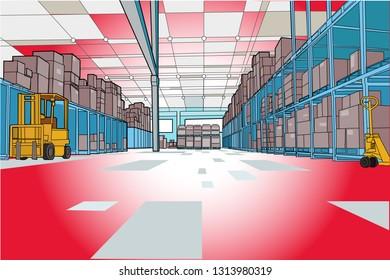 Interior of a logistics warehouse