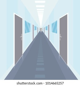 Interior of long and narrow corridor with a lot of doors, in modern office. Front view. Simplistic realistic comic art style. Vector illustration