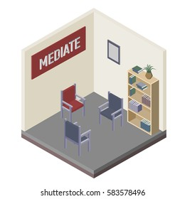 Interior in mediation room. Vector, isometric, illustration