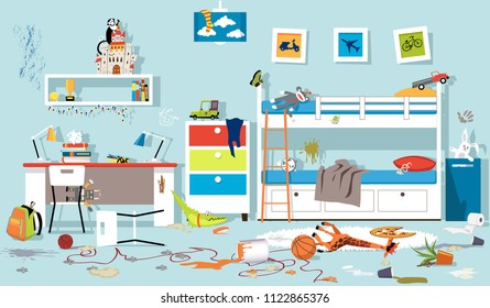 Interior of messy kids bedroom, EPS 8 vector illustration, no transparencies