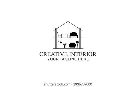 Interior minimalist room, gallery furniture logo design vector