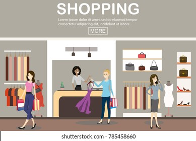interior of a modern and fashionable clothing store,caucasian female cashier and and women buyers,place for text,flat vector illustration