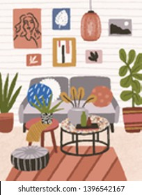 Interior of modern house with couch, coffee table, pendant light, ottomans, wall pictures. Cozy living room or apartment furnished in trendy Scandic hygge style. Flat colorful vector illustration.