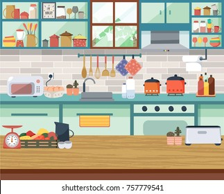 Interior modern kitchen with the window, dining table, shelf, cupboard, all in flat design, illustration, vector