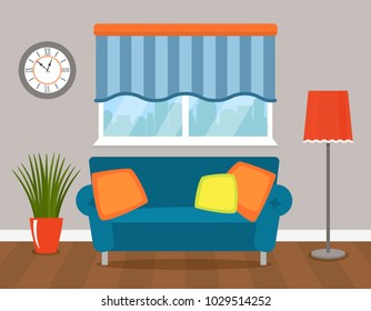 Interior of modern living room with sofa, window, clock. vector cartoon style illustration