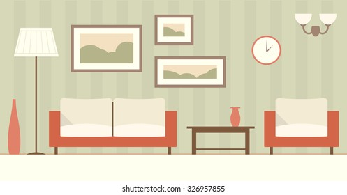 Interior of a modern minimalistic living room. Vector flat color illustration.