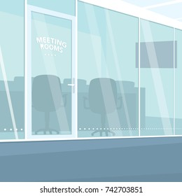 Interior of modern office corridor with view of meeting rooms with glass walls. Three quarter view. Simplistic realistic comic art style. Vector illustration