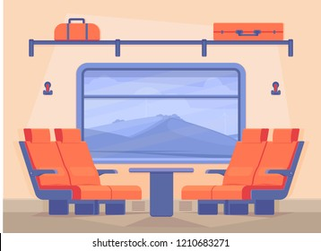 Interior of a modern passenger train inside. Nature landscape in window. Traveling by train along the rail road in comfort. Vector flat illustration.