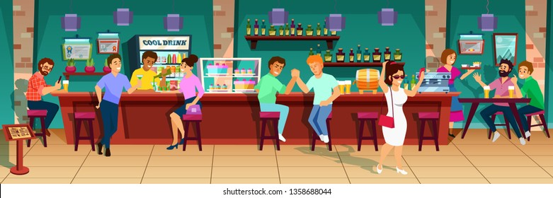 Interior of modern pub and cafe bar with people, visitors and bartenders. Group of people behind the bar communicate, use devices, drink, alcohol bottles, cakes, beer, shelves. Cartoon vector.