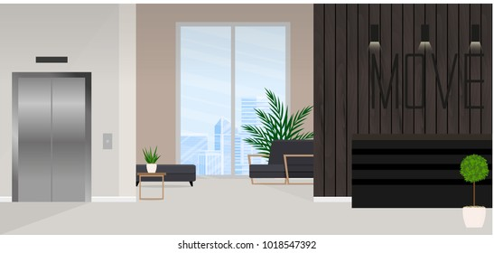 Interior of the modern reception in the office