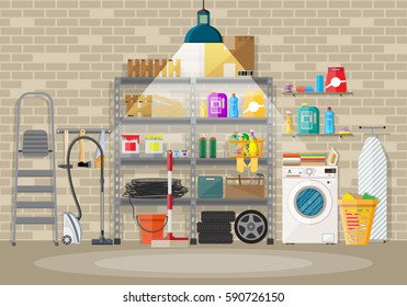 Interior of modern storeroom with metal shelves, storage, boxes, stair, wheels, cleaning accessories, washing machine, iron board, vacuum. Light lamp. Brick wall. Vector illustration in flat style