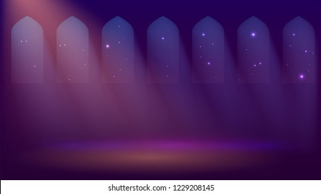 Interior of a mosque, dark room with windows, night, church or castle