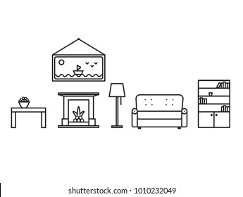 Interior objects of the living room in line art style. In the room there is a table, a sofa, a bookcase, a picture, a fireplace, a floor lamp. Outline vector graphic