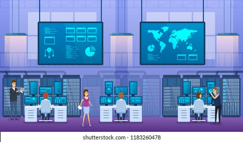 Interior office of information technology engineer. Control database center, monitoring server stations. Information display with indicators, geographic map, it programm software. Vector illustration.