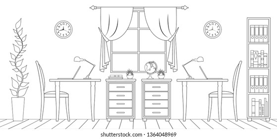 Interior office in outline style. Room with desktops and appliances. Linear illustration. Vector sketch of the thin lines of the workplace.