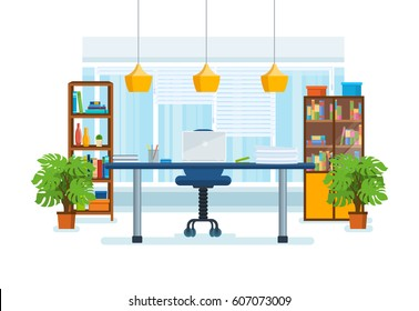 The interior of the office room, with a workplace, low-key surroundings, windows with shutters and views of the city's streets. Vector illustration isolated in cartoon style.
