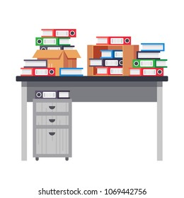 Interior office room, workplace. Office table, workplace with pile of paper documents, file folders, business working. Business documents, paper, scaning materials, carton boxes. Vector illustration