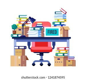 Interior office room, workplace. Office table, workplace with pile of paper documents, file folder, business working. Business documents, carton boxes. Fired, dismissal from work. Vector illustration.