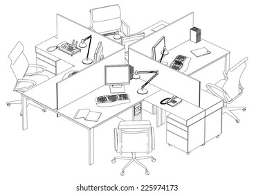Interior Office Working Place Vector 17