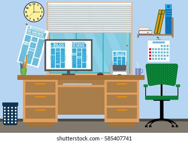 Interior of office with a workplace and the computer