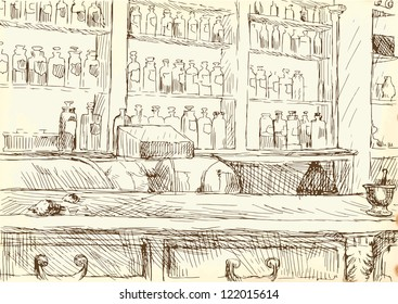Interior of an old pharmacy. / Editable in 2 layers. Number of colors in each layer: no more than sixteen - brown outlines. White color is excluded. Vintage paper (background) in the bottom layer.