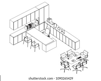 interior outline isometric wireframe sketch drawing perspective , office vector eps format.