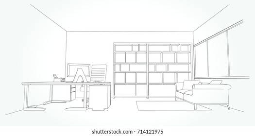 interior outline sketch drawing perspective of a space office.Workplaces . Tables, chairs and windows. Vector illustration in a sketch style.