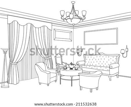 Interior Outline Sketch Furniture Blueprint Architectural Stock Gorgeous Blueprint Interior Design