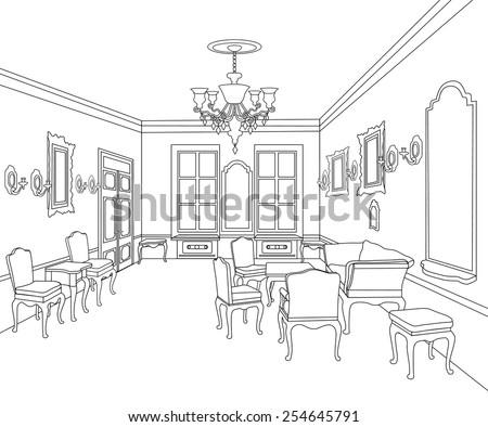 Interior Outline Sketch Furniture Blueprint Architectural Stock Classy Blueprint Interior Design