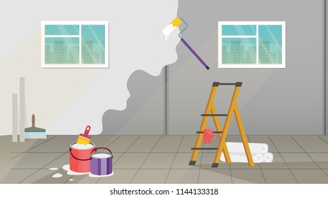 Interior with painting and wall upkeep tools such as paint roller, paint buckets and brush, platform ladder with gloves and rolls of wallpaper for renovation works. Cartoon illustration background