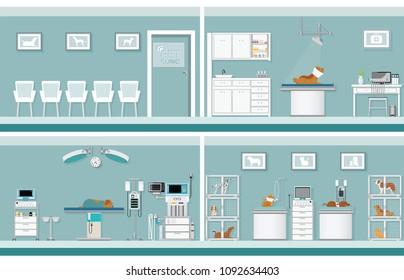 Interior of pet clinic, animal health care conceptual vector illustration.