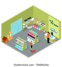 Interior Pet Shop Isometric View Care Domestic Animal Furniture, Equipment, Worker and Client. Vector illustration with pet icons