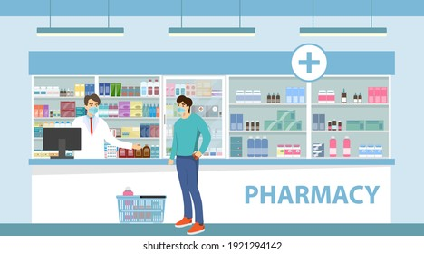 The interior of the pharmacy. The buyer with the goods stands near the pharmacist. Vector illustration. Vector.
