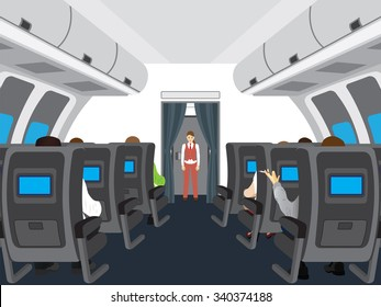 Interior of the plane. Passengers on the plane.
