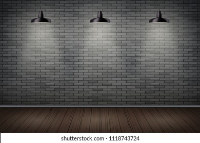 Interior of prison with black brick wall and vintage pendant lamps. Vintage jail and prison cell. Concept design for quest rooms and games. Editable Vector Illustration.