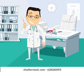 Interior of private surgery. Doctor with injection in hospital. The best medical health care. Funny cartoon flat vector illustration.