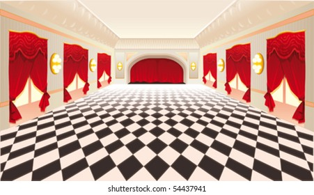Interior with red curtains and tiled floor. Vector illustration.