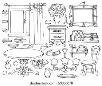 Interior Room Cartoon Elements - Coloring