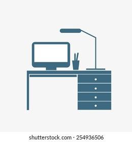 interior, room, office space, a dark silhouette, vector