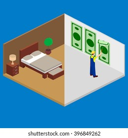 Interior room, wallpapering, building, construction vector isometric