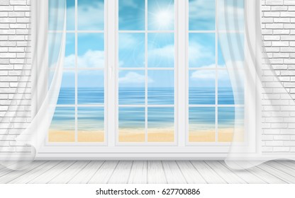 Interior of a room with a white brick wall and a window with view on the sea beach. Vector detailed travel and travel illustration.