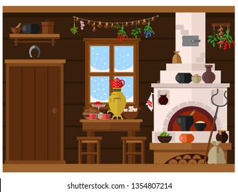 Interior of russian village house with Russian stove. Traditional farm house kitchen.
