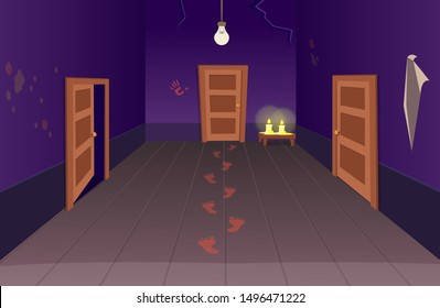 Interior of scary house with doors bloody footprints and candles. Halloween сartoon vector illustration of corridor.