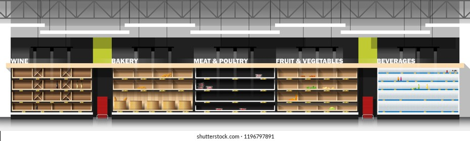 Interior scene of modern supermarket with empty shelves , vector , illustration