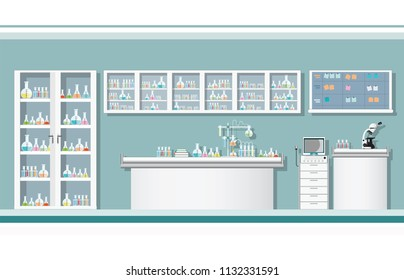 Interior of science laboratory or laboratory room, conducting research in a lab concept vector illustration.