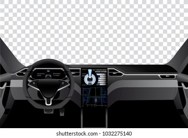 Interior of self driving car with information display. Vector illustration