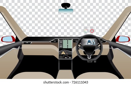 Interior of self driving car with navigation, main and head up displays. Vector illustration