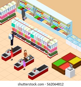 Interior Shop with Furniture Shop Shelves Set and Cash Register Terminal Isometric View. Vector illustration