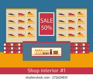Interior of shop of shoes. Flat vector illustration.
